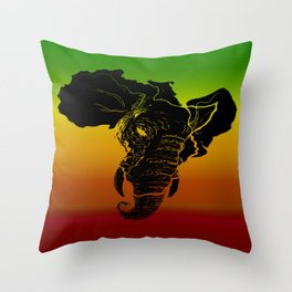 Rasta African Elephant Throw Pillow