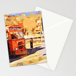 Aleppo: buses and child riding a bicycle Stationery Cards