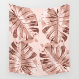 Rose Gold Monstera Leaves on Blush Pink Wall Tapestry