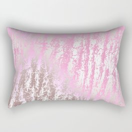 Abstract girly pink ivory rose gold texture pattern Rectangular Pillow
