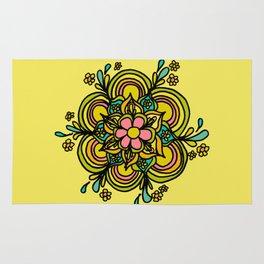 Flower Power Mandala Positive Vibes Flow Freely Rug