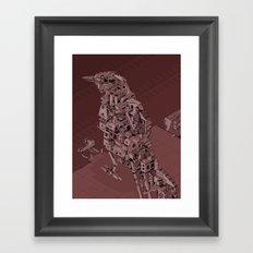 Red Bird Machine City Framed Art Print