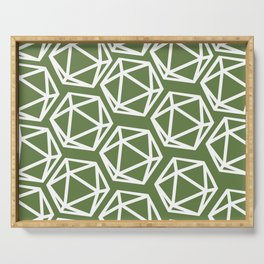 D20 Pattern - Green White Serving Tray