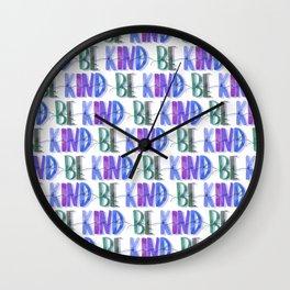 Be Kind Blues Pattern | Be Kind | Kindness Tribe | Blue Patterns Wall Clock