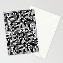 black and white Background Pattern Camo Stationery Cards