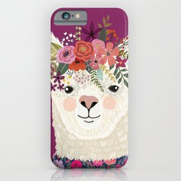 Alpaca with flowers on head. Purple iPhone Case