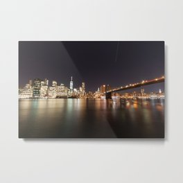 Manhattan Lights including Brooklyn Bridge, One World Trade Metal Print