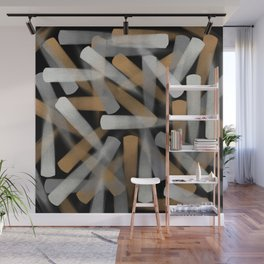 Digital Paint Brush Strokes in Gold, Silver and White Wall Mural