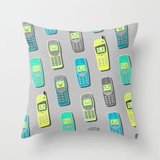 Vintage Cellphone Pattern Throw Pillow