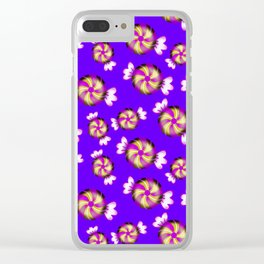 Cute lovely sweet decorative caramel toffee candy in shiny wrappers seamless pattern. Candy store. Clear iPhone Case