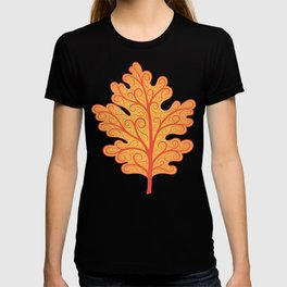 Oak Leaf, Orange and Blue Botanical Art Nouveau T-shirt