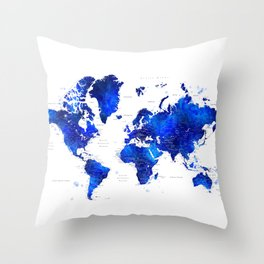 """Navy blue and cobalt blue watercolor world map with cities labelled, """"Carlynn"""" Throw Pillow"""
