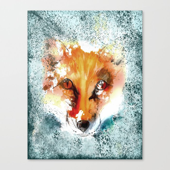Wild wild Fox - Animal in the forest- watercolor illustration Canvas Print