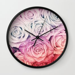 Some people grumble II  Floral rose flowers pink and multicolor Wall Clock