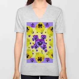 YELLOW & PURPLE PANSY FLOWERS FLOATING ON LILAC Unisex V-Neck