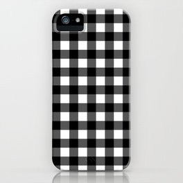 Plaid (Black & White Pattern) iPhone Case