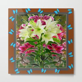 BLUE BUTTERFLIES WHITE LILIES COFFEE BROWN FLORAL ART Metal Print
