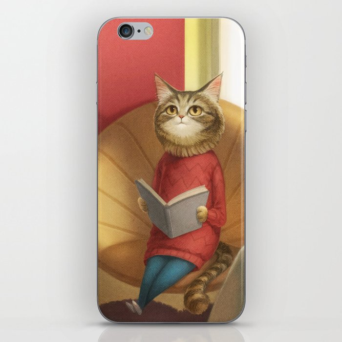 A cat reading a book iPhone Skin