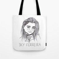 sky ferreira Tote Bags featuring Sky Ferreira  by ☿ cactei ☿