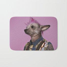 Punk Chinese Crested Dog Bath Mat