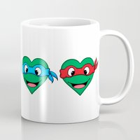 ninja turtle Mugs featuring Ninja Turtle Hearts by Sam Skyler