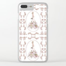 Sparkle Rose Gold Diamonds Pattern Girl Fashion Clear iPhone Case