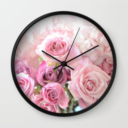 Pink Bouquet of Roses Shabby Chic Floral Wall Art Home Decor Wall Clock