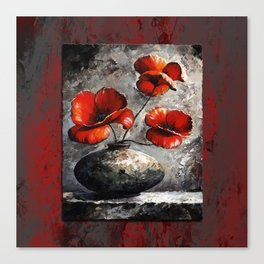 Poppies style gray red Canvas Print