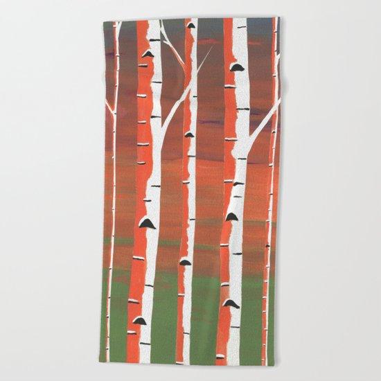 Birch Trees At Dusk Beach Towel