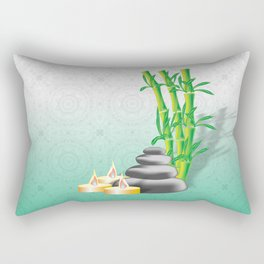 Meditation stones, bamboo and candles Rectangular Pillow