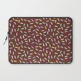 chocolate Glaze with sprinkles. Brown abstract background Laptop Sleeve