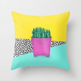Cactus Fries 90s Style Throw Pillow