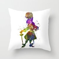 captain hook Throw Pillows featuring Captain Hook in watercolor by Paulrommer