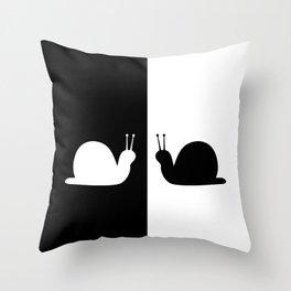 Black and white slug Throw Pillow