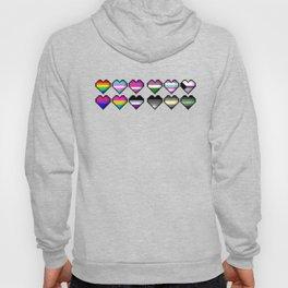 Various Pride Pixel Hearts Hoody