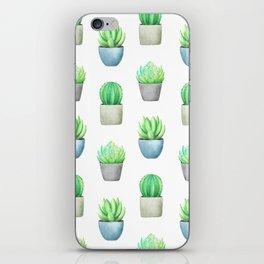 Succulent and Cactus Garden Pots Pattern iPhone Skin
