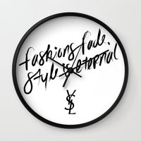 ysl Wall Clocks featuring Style is Eternal by Megan Carty