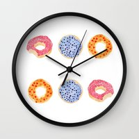 doughnut Wall Clocks featuring doughnut selection by cardboardcities