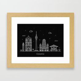 Colombo Minimal Nightscape / Skyline Drawing Framed Art Print
