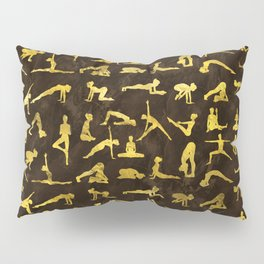 Gold Yoga Asanas / Poses pattern Pillow Sham