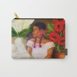 Girl with Calla Lilies and Red Mexican Sunflowers floral portrait painting Carry-All Pouch