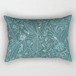 Floral Weave Teal Rectangular Pillow