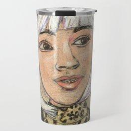 Leopard skin and gold dots Travel Mug