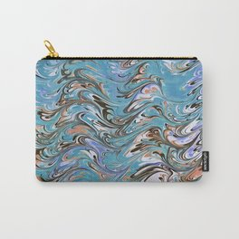 Marble Abstract In Blue Carry-All Pouch