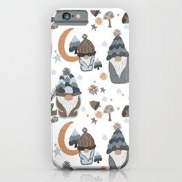 Woodland Moon Stars Gnome Gray  iPhone Case