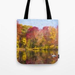 Autumn Pond With Mallard Duck Tote Bag