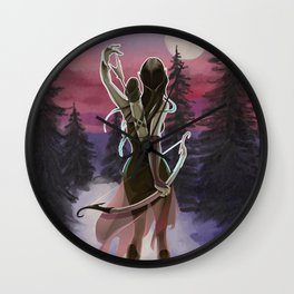 Hunting beauty, Watercolor hand drawn scene,Beautiful woman on Vintage wildlife colorful landscape Wall Clock