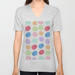 Colorful trendy colors large watercolor polka dots Unisex V-Neck