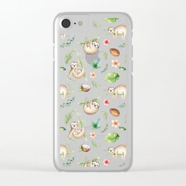 Tropical Sloths Pattern Clear iPhone Case