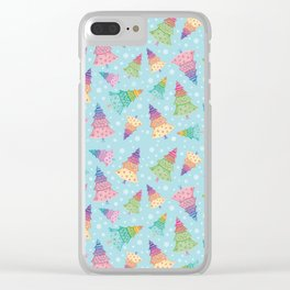 Colorful Christmas Trees Clear iPhone Case